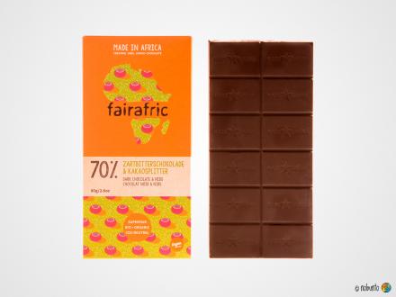 fairafric Bio Zartbitter-Schokolade Kakaosplitter 70 % (80 g)