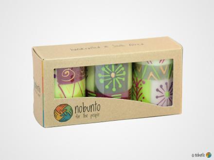 KILEO Geschenkbox 3 x Stumpenkerze
