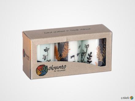 KIWANJA Geschenkbox 3 x Stumpenkerze