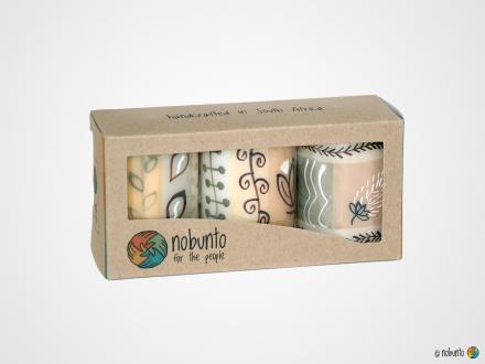 MBOGA Geschenkbox 3 x Stumpenkerze
