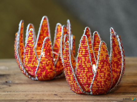 Teelichhalter PROTEA 8 cm rot-orange